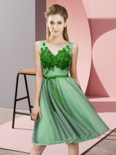 Knee Length Lace Up Dama Dress for Quinceanera Green for Wedding Party with Appliques