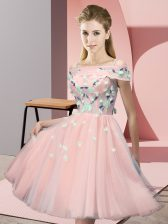 Knee Length Pink Dama Dress for Quinceanera Off The Shoulder Short Sleeves Lace Up