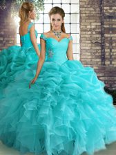 Best Selling Organza Off The Shoulder Sleeveless Lace Up Beading and Ruffles and Pick Ups Quinceanera Dresses in Aqua Blue