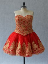 Red Prom and Party with Appliques and Embroidery Sweetheart Sleeveless Lace Up