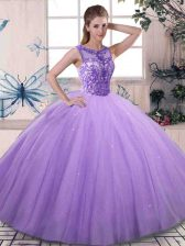 Fashionable Sleeveless Floor Length Beading Lace Up Sweet 16 Dress with Lavender