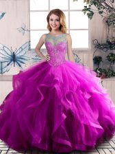 Purple Sleeveless Floor Length Beading and Ruffles Lace Up Quinceanera Dresses