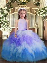 Tulle High-neck Sleeveless Backless Ruffles Little Girls Pageant Dress Wholesale in Multi-color