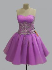 Lilac Sweetheart Neckline Beading Dress for Prom Sleeveless Lace Up