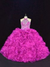Fuchsia Ball Gowns Halter Top Sleeveless Organza Floor Length Lace Up Beading and Ruffles 15th Birthday Dress