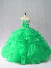 Flirting Green Sleeveless Beading and Ruffles Floor Length Quinceanera Gowns