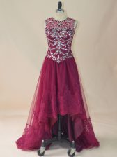 Romantic Burgundy Tulle Lace Up Scoop Sleeveless High Low Prom Gown Beading and Lace