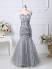 Stunning Sleeveless Zipper Floor Length Beading and Ruching Homecoming Dress