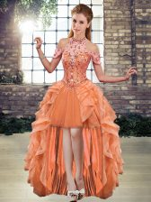 Vintage High Low Lace Up Prom Dress Orange for Prom and Party with Beading and Ruffles