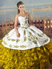 Fantastic Brown Ball Gowns Satin and Organza Sweetheart Sleeveless Embroidery and Ruffles Floor Length Lace Up Quince Ball Gowns