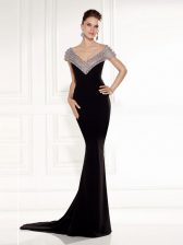 Sweet Sleeveless Chiffon Brush Train Backless Dress for Prom in Black with Beading