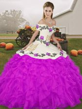 Hot Sale Floor Length Purple Quinceanera Dress Organza Sleeveless Embroidery and Ruffles