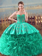 Eye-catching Sleeveless Fabric With Rolling Flowers Brush Train Lace Up Quinceanera Dress in Turquoise with Embroidery and Ruffles
