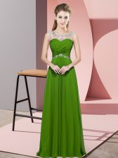 Green Scoop Backless Beading Prom Evening Gown Sleeveless