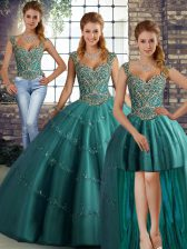 Teal Tulle Lace Up Straps Sleeveless Floor Length Quinceanera Dresses Beading and Appliques