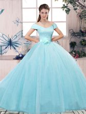 Sophisticated Aqua Blue Tulle Lace Up Off The Shoulder Short Sleeves Floor Length Vestidos de Quinceanera Lace and Hand Made Flower