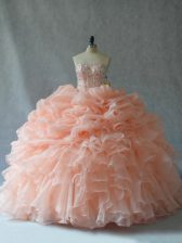 New Style Peach Ball Gowns Beading and Ruffles Quince Ball Gowns Lace Up Organza Sleeveless Floor Length