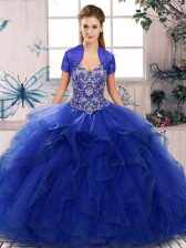 Extravagant Sleeveless Beading and Ruffles Lace Up Quinceanera Gowns