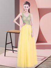 Smart Gold Empire Tulle V-neck Sleeveless Beading Floor Length Zipper Prom Party Dress