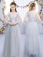 Deluxe Lace and Belt Quinceanera Court of Honor Dress Grey Lace Up Sleeveless Floor Length