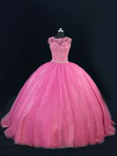 Hot Pink Tulle Lace Up Quinceanera Dresses Sleeveless Floor Length Beading and Lace and Sequins