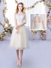 Tea Length Champagne Dama Dress High-neck Half Sleeves Lace Up
