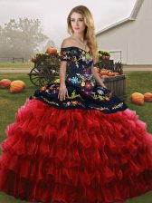 Unique Red And Black Lace Up 15th Birthday Dress Embroidery and Ruffled Layers Sleeveless Floor Length