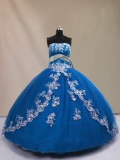 High End Floor Length Lace Up Quinceanera Dresses Blue for Sweet 16 and Quinceanera with Appliques