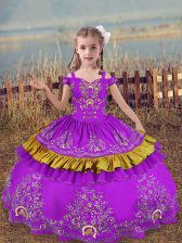 Sleeveless Lace Up Floor Length Beading and Embroidery Kids Pageant Dress