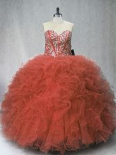 Free and Easy Rust Red Ball Gowns Tulle Sweetheart Sleeveless Beading and Ruffles Floor Length Lace Up 15th Birthday Dress