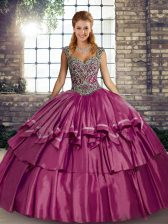 Ball Gowns Quinceanera Gowns Fuchsia Straps Taffeta Sleeveless Floor Length Lace Up