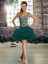 Adorable Straps Sleeveless Prom Dresses Mini Length Beading and Ruffles Dark Green Tulle
