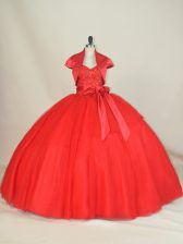 Ball Gowns Quinceanera Gowns Red Sweetheart Tulle Sleeveless Floor Length Lace Up