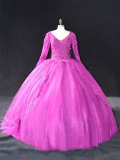 Great Long Sleeves Tulle Floor Length Lace Up 15 Quinceanera Dress in Fuchsia with Lace and Appliques