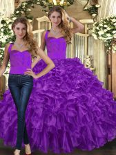 Best Selling Floor Length Lace Up Sweet 16 Dresses Purple for Military Ball and Sweet 16 and Quinceanera with Ruffles
