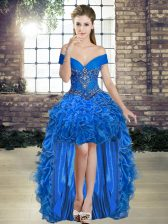 Off The Shoulder Sleeveless Organza Prom Gown Beading and Ruffles Lace Up