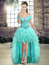 New Arrival Aqua Blue Organza Lace Up Off The Shoulder Sleeveless High Low Prom Evening Gown Beading and Ruffles