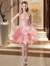 Mini Length Lace Up Homecoming Dress Pink for Prom and Party with Beading and Ruffles