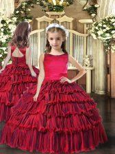 Floor Length Red Little Girls Pageant Dress Sleeveless Ruffled Layers