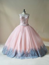 Pink Sleeveless Floor Length Beading and Appliques Lace Up Sweet 16 Dresses