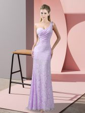 Simple Lace One Shoulder Sleeveless Criss Cross Beading and Lace Evening Dress in Lavender