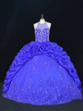 Spectacular Halter Top Sleeveless Sweet 16 Dresses Floor Length Beading and Appliques and Embroidery and Pick Ups Royal Blue Taffeta