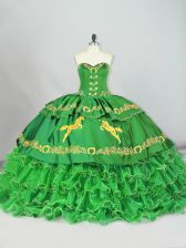Best Selling Sweetheart Sleeveless Satin and Organza Quinceanera Gown Embroidery and Ruffled Layers Brush Train Lace Up