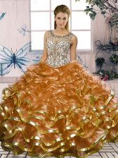 Designer Brown Organza Lace Up Quinceanera Gown Sleeveless Floor Length Beading and Ruffles