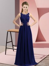 Navy Blue Sleeveless Beading and Appliques Floor Length Vestidos de Damas