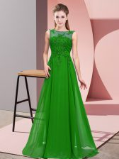 Green Damas Dress Wedding Party with Beading and Appliques Scoop Sleeveless Zipper