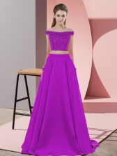 Chic Sweep Train Two Pieces Prom Evening Gown Purple Off The Shoulder Elastic Woven Satin Sleeveless Backless