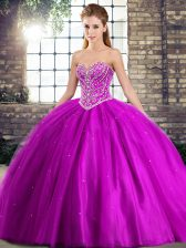 Exceptional Purple Sweetheart Lace Up Beading Quinceanera Gown Brush Train Sleeveless