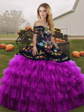 Modern Sleeveless Lace Up Floor Length Embroidery and Ruffled Layers Sweet 16 Dresses