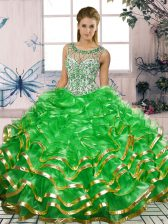 Artistic Sleeveless Beading and Ruffles Lace Up 15 Quinceanera Dress